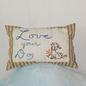 Vintage embroidery Dog mini pillow cushion